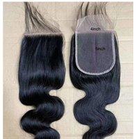 saç sakalları bakire üst kapatma toptan satış-Brezilyalı Bakire Saç 4X5 Dantel Kapatma Vücut Dalga Remy Saç Ürünleri 8-22 inç Vücut Dalga 4 Tarafından 5 Üst Kapaklar