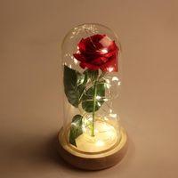 розовый стеклянный купол оптовых-Красавица и Чудовище розы в стеклянной купольной Искусственные цветы Красные розы Поддельный рождественские украшения Wendding Валентина День подарков