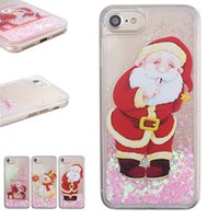 Wholesale santa claus glitter online - Christmas Quicksand Liquid Glitter Case Snowflake Cute Santa Claus Snowman Elk Back Cover for iPhone XR XS with OPP Bag