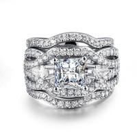 kupferplattierung platin zirkon groihandel-Platin Dreischicht Ring Zirkon Ringe Vergoldet Kupferring Liebhaber Geschenk heiß für Mann und Frau