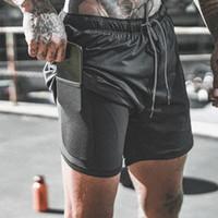 ingrosso corti da jogging maschili-Scarpe da corsa Shorts Mens 2 in 1 Pantaloncini sportivi maschio di secchezza rapido di formazione esercizio jogging Palestra con incorporato Liner tasca