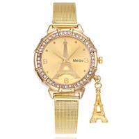relojes mujer paris al por mayor-Relojes de las mujeres Nueva llegada de la venta caliente de París Torre Eiffel mujeres Lady de acero inoxidable cuarzo señoras relojes de pulsera reloj Z525