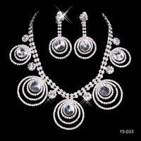 abendkleid halskette großhandel-Braut Halskette Elegant Versilbert Strass Ohrringe Schmuck-Set Günstige Accessoires für Abschlussballkleider Abendkleid