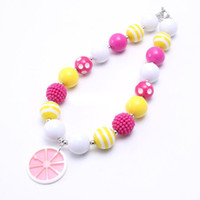 Wholesale pendants for kids chunky bead necklaces resale online - Pink Lemon Pendant Kid Chunky Necklace Hot Pink Yellow Color Bubblegum Bead Chunky Necklace Children Jewelry For Toddler Girls