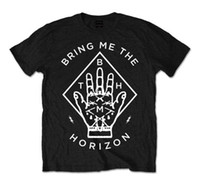 el baskısı gömlek toptan satış-Bana Ufku getirin T-Shirt Diamant El schwarz Unisex Herren Rockmusik renk jersey Baskı t gömlek