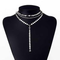 multi kettenglied halskette großhandel-Damenmode Pailletten Mehrschichtige Lange Choker Link Geometrische Schlüsselbein Kette Lässig, Party Halskette Halsketten