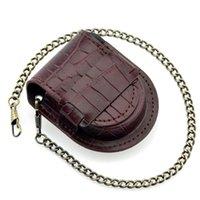 caja de reloj de cuero antiguo al por mayor-Patrón de color marrón de bambú Caso de cuero reloj de bolsillo de la vendimia del bolso mujeres de los hombres de la antigüedad del bolso del regalo