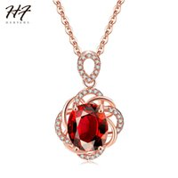 Wholesale jewelry for cocktail for sale - Group buy New Rose Gold Color Flower Sharped Oval Red CZ Cubic Zirconia Pendant Cocktail Necklace Fashion Jewelry for Women HotSale N615