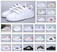 zapatos casuales juveniles al por mayor-Clásico Juvenil Stan Smith Superstar Niños Chicas Niño Niños Bebé Niños Zapatos Casual Sport Tamaño 24-35