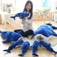 lumpenpuppen für babys groihandel-50-150cm New Style Blue Shark Plüschtiere Big Fish Stoffpuppe Wal füllte Plüsch Meer animalsChildren Geburtstags-Geschenk T191019