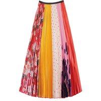 panel delgado de la cintura al por mayor-Panel impreso Falda plisada 2019 Verano Mujer Cintura alta Versátil Era delgada y largas secciones Elegante la hada Falda