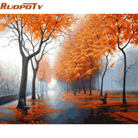 Wholesale art modern painting acrylic resale online - RUOPOTY Frame DIY Painiting By Numbers Landscape Modern Wall Art Canvas Painting Hand Painted Acrylic Picture For Home Decor