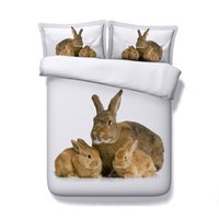 Wholesale vivid bedding sets resale online - 3D Vivid rabbit Print Duvet Cover Set Bedding with pillowcase Microfiber Quilt Cover Zipper Closure NO Comforter