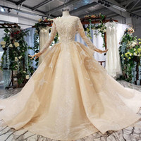 Wholesale wedding dress patterns ruffles resale online - 2019 summer latest wedding gowns illusion o neck long tulle sleeve open keyhole back crystal beaded sequins pattern simple wedding dresses