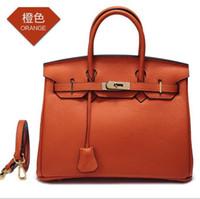 bolsa padrão laranja venda por atacado-A primeira camada de padrão de lichia de couro bolsa de ombro de platina diagonal feminino bolsa de moda feminina de couro bolsa laranja