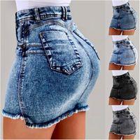 strand-jeans-kleider großhandel-Damen Sommerkleider Sexy Denim Rock Designer Kleidung Strand Hüfte Kurze Röcke Nachtclub Über Knie Frühling