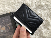 Wholesale business card holder free shipping resale online - of famous fashion brand women s purse sells classic card bag high quality leather designer wallet with serial number