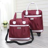 sac de bagage violet achat en gros de-En gros! 16inches oxford voyage bagages définit, violet / noir / vin rouge / rose chaud sacs de bagages de chariot étanche rose pour la fille