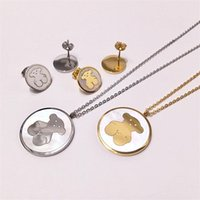 ayı küpeleri toptan satış-Moda Desen Ayı Kolye Küpe Seti Lüks Karikatür Ayı Kolye Hayvanlar Saplama Küpe Kadınlar Altın Gümüş Takı Setleri