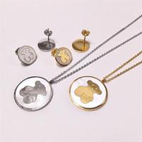 brincos de ursos venda por atacado-Padrão de moda Urso Colares Brincos Set Luxo Urso Dos Desenhos Animados Colares Animais Brincos Mulheres Conjuntos de Jóias de Prata de Ouro
