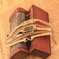 mädchen hand liebe großhandel-Handgemachte verstellbare Multilayer Armband Dearm glauben Liebe Armband Retro 8 Leder Seil Handgewebte Armbänder Frauen Mädchen Schmuck
