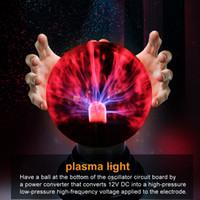 luces de noche de cristal al por mayor-Regalo de la novedad de la luz de cristal de iluminación plasma mágica Bola de cristal lámpara de mesa Luces Esfera Noche Niños Por Año Nuevo Lámpara mágica de Navidad