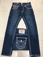 niños jeans naranja al por mayor-Venta al por mayor Buena calidad verdadera NUEVA caliente de los hombres Robin Rock Revival Jeans Crystal Studs Denim Pantalones Diseñadores Pantalones hombres tamaño 30-40