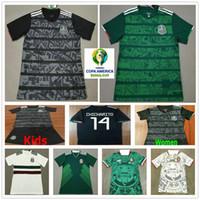 camisetas de fútbol para niños verde al por mayor-Jerseys de fútbol México México 2019 2020 H.LOZANO G.DOS SANTOS CHICHARITO M.LAYUN H.HERRERA Camiseta de fútbol personalizada negro verde hombre mujer niños