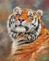 moderne lackierrahmen großhandel-Kunstwerk-amur-tiger-painting-01 Ungerahmt moderne Leinwand Wandkunst für Heim und Büro Dekoration, Ölgemälde, Tiermalereien, Rahmen.