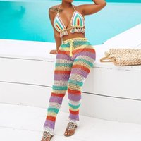 bunte quasten großhandel-Regenbogen gestreifte Häkelhose Set 2 Stück Womens Sexy Backless bunt gestrickte Quasten Top Hosen Set Beachwears passende Sets