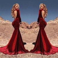 vestido de baile sexy backless sexy venda por atacado-Sexy cabido sereia vermelho escuro veludo vestidos de baile 2019 Vestidos De Fiesta mangas compridas Ruched Backless celebridade vestido de noite