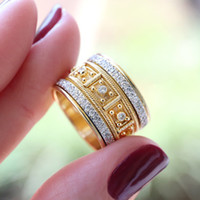 Wholesale womens wide wedding band resale online - Mens Womens mm Wide gold plated Stainless Steel Ring Ethnic style rhinestone Wedding Engagement Band jewelry Comfort Fit