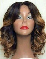 Wholesale brown wavy medium length wigs resale online - Best Thick natural wavy curly bob lace front human hair wigs density shoulder length brazilian hair wigs natural color not ombre inch