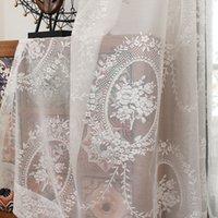 weiße seidenvorhänge großhandel-French White Gardinen Embridered White Voile Curtain für Wohnzimmer Seide Gaze Schlafzimmer Vorhänge für Fenster Behandlung