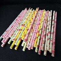 pajitas de papel amarillo al por mayor-1000 X Romántico Floral Rosa / Pajitas de Papel Amarillo Biodegradable Pajitas de Beber de Papel Retro Vintage Para Bodas Decoración de Eventos