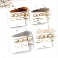 ingrosso set di perle fatti a mano-3 pezzi / set 4 colori donne fatto a mano moda in metallo perla acrilico clip di capelli snap barrette bastone accessori per capelli tornante