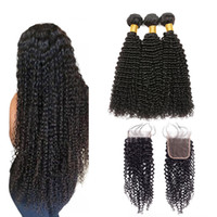 Wholesale afro kinky curly lace closure resale online - Afro Kinky Curly Human Hair Bundles With Closure Brazilian Curly Hair Bundles With Closure Brazilian Kinky Curly Lace Closure With Bundles
