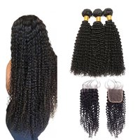 afro kinky kıvırcık kapatma toptan satış-Afro Kinky Kıvırcık İnsan Saç Demetleri Ile Kapatma Brezilyalı Kıvırcık Saç Demetleri Ile Kapatma Ile Brezilyalı Kinky Kıvırcık Dantel Kapatma demetleri