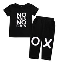 Wholesale cool baby boy clothing resale online - Hot Baby Boy Summer Causal Outfits Cool Kids Letter Clothes Black Toddler T shirt Top Kids Black Pants Se