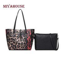 projeto do leopardo malas venda por atacado-Miyahouse Alta Qualidade Mulheres Sacos Compostos Leopard Design Bolsas Para O Sexo Feminino Único Saco de Ombro Sacola Moda