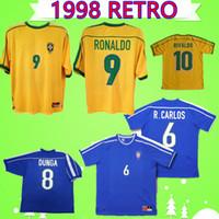 brazil dünya kupası futbol topları toptan satış-1998 dünya kupası brezilya Retro futbol formaları Vintage Klasik futbol gömlek ev uzakta sarı mavi RONALDO Rivaldo Dunga RAI R.CARLOS