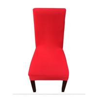 tecido cadeira spandex cobre venda por atacado-Tampa da cadeira elástica cor sólida Banquete do hotel dobrável tampa da cadeira do escritório tecido Spandex confortável e respirável Facilidade de instalação