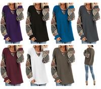 Wholesale bohemia clothing resale online - Spring Women T Shirt Puff Long Sleeve T shirt Bohemia Design Stitching Blouse Casual Loose Sweatshirt Fashion Autumn T shirts Top Clothes
