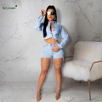 metal jadeante al por mayor-Mujeres Sexy Hollow Out Demin Pantalones Metal Cadena Sling Blue Jeans cortos Streetwear Bodycon Shorts más el tamaño 2XL