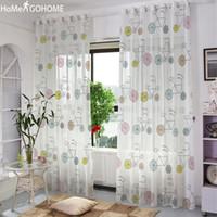 cortinas grises amarillas al por mayor-Cortinas de la ventana escarpada de tul de gasa para la sala de estar decoración de la bicicleta dormitorio cortinas de tul blanco cortinas de la cocina cortinas