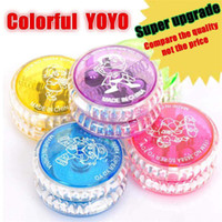 Wholesale glow spinning toy for sale - Group buy Magic Flashing LED Glow Yoyo Responsive High speed Aluminum Alloy Yo yo CNC Lathe with Spinning String for Boys Girls