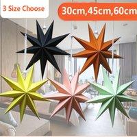 ingrosso lanterne stellate-New Nine Angles Paper Star Decorazione della casa Hanging Star Lanterna per la festa di Natale Shopping Mall Compleanno Decor 30cm, 45cm, 60cm HH7-1895