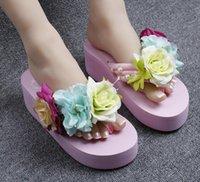 saltos altos online venda por atacado-2019 New Flowers Praia Handmade Flip Flops Chinelos Online Moda Sandálias de Salto Alto Rosa Sapatos Das Mulheres