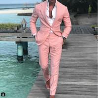 blazers de esmoquin rosa para hombres al por mayor-Chic Pink One Button para hombre trajes de baile con muesca solapa Padrino de boda Esmoquin de boda para hombre Blazers de dos piezas traje formal chaqueta + pantalones