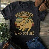 simba aslanı toptan satış-Simba Lion King Vintage Erkekler Tişört Serin Hediye Kişilik Tee Gömlek Kim Olduğunu Unutmayın